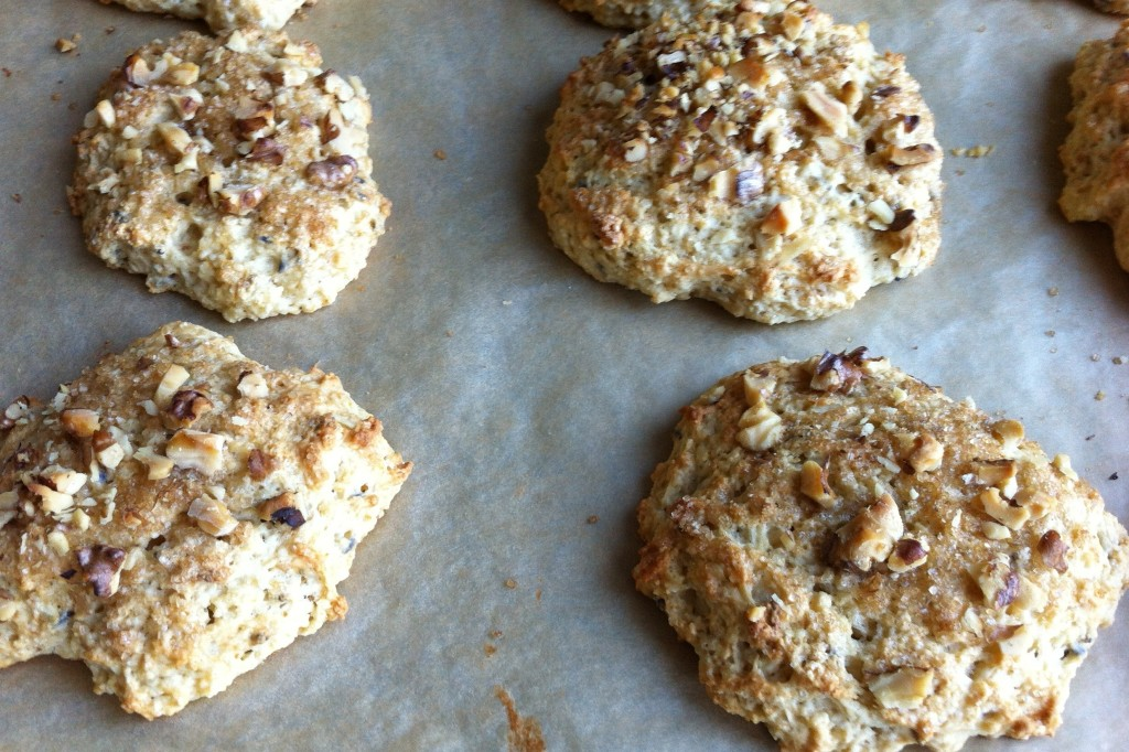 ... scones a little and sprinkle with demerara sugar and walnuts. Bake for